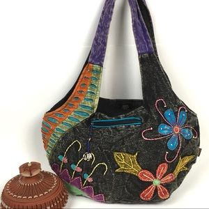Rising International Hobo Bag Textile Embroidered